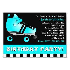 Aqua Blue Roller Skate Birthday Party Invitations