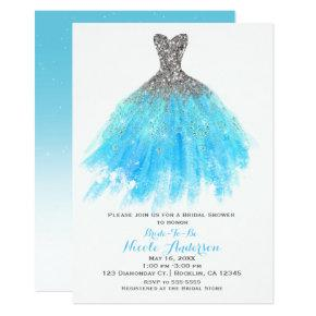 Aqua Blue Silver Glitter Glam Dress Bridal Shower Card