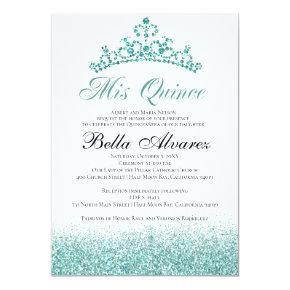 Aqua Glitter Quinceañera Invitation Mis Quince