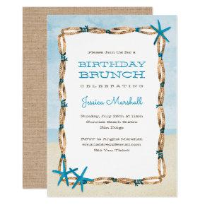 Aqua Starfish and Watercolor Beach Birthday Invitation