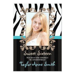 Aqua Zebra Sweet Sixteen Photo