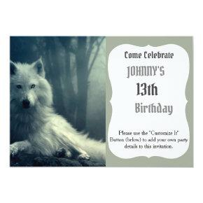 Arctic wolf - forest wolf - snow wolf - white wolf invitation