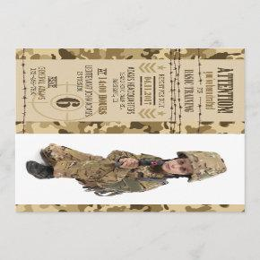Army Arid Camouflage Military Birthday Invitation