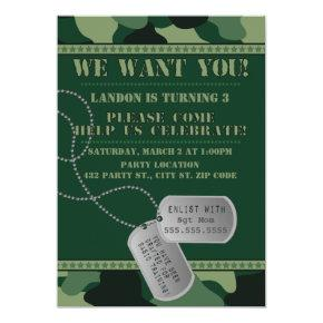 Army, Camo Birthday, Invitation
