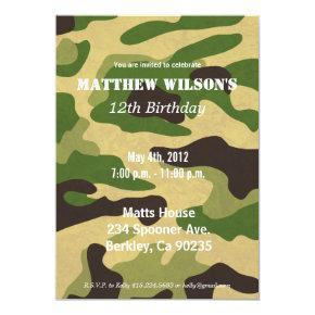 Army Camoflauge Invitations