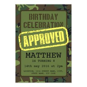 Army Camouflage Approved Stamp Kids Birthday Invitations