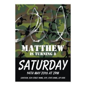 Army Camouflage Barbed Wire Kids Birthday Invitation