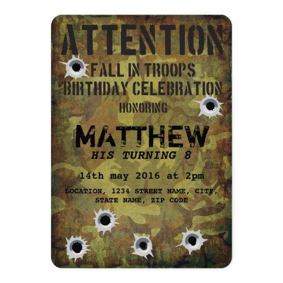 Army Camouflage Bullet Holes Kids Birthday