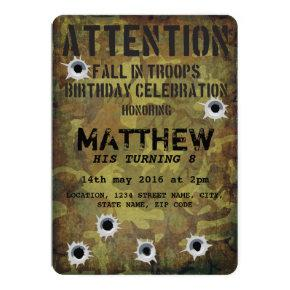 Army Camouflage Bullet Holes Kids Birthday Invitations
