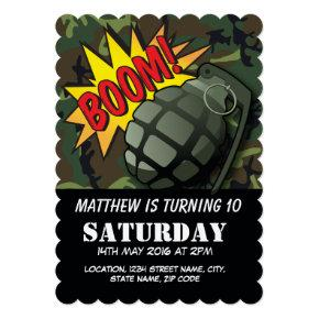 Army Camouflage Comic Grenade Kids Birthday Invitation