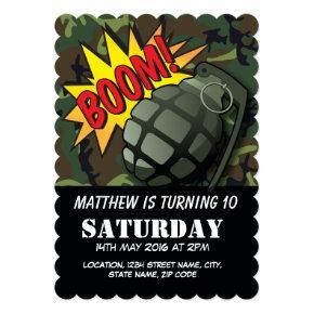 Army Camouflage Comic Grenade Kids Birthday Invitations