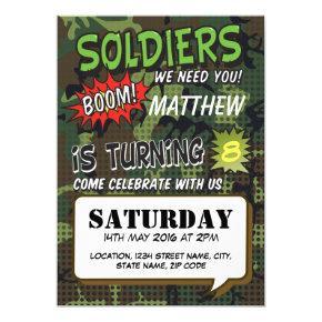 Army Camouflage Comic Pop Art Kids Birthday Invitations