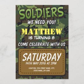 Army Camouflage Comic Theme Kids Birthday Invitation