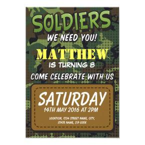 Army Camouflage Comic Theme Kids Birthday Invitation
