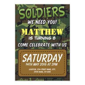 Army Camouflage Comic Theme Kids Birthday Invitations