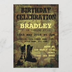 Army Camouflage Military Boots Kids Birthday Invitation