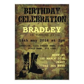 Army Camouflage Military Boots Kids Birthday Invitations