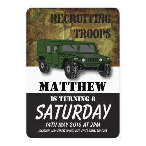 Army Camouflage Military Truck Kids Birthday Invitation