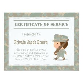 Army Certificate of Service Thank You Birthday Invitations