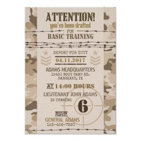 Army Desert Camouflage Military Birthday Invitation