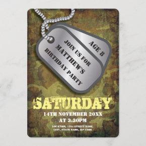 Army Dog Tags Rustic Kids Birthday Invitation
