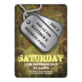 Army Dog Tags Rustic Kids Birthday Invitations
