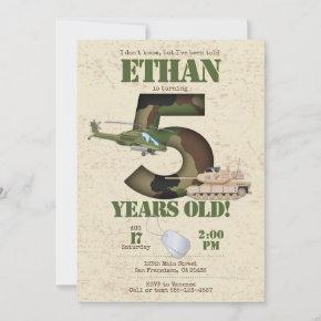 Army Invitation - 5th Birthday Invitation