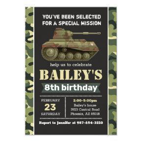 Army invitation, Camo military birthday invitation