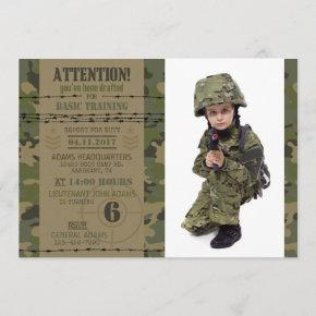 Army Jungle Camouflage Military Birthday Invitation