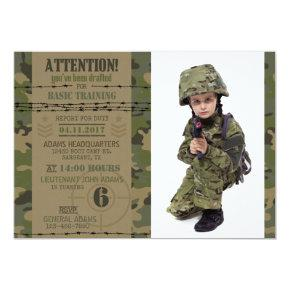 Army Jungle Camouflage Military Birthday Invitations