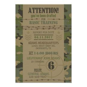 Army Jungle Camouflage Military Birthday Invitations