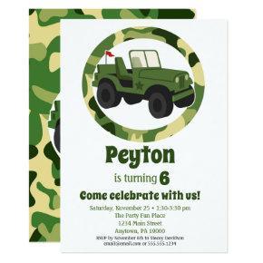 Army Military Camo Boys Birthday Party Invitations