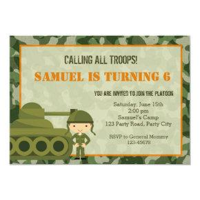 Army (Military) Invitations with Camouflage Soldier