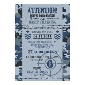 Army Navy Camouflage Military Birthday Invitation