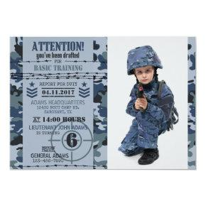 Army Navy Ocean Camouflage Military Birthday Invitation