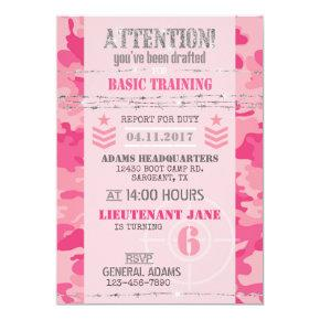 Army Pink GI Jane Camouflage Military Birthday Invitation