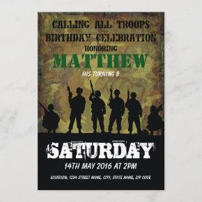 Army Rustic Camouflage Soldiers Kids Birthday Invitation