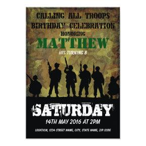 Army Rustic Camouflage Soldiers Kids Birthday Invitations