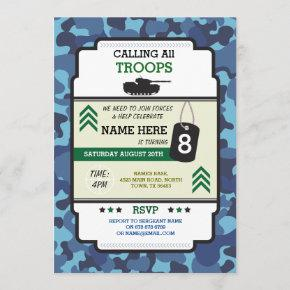 ARMY SOLDIER TROOPS TANK GUN INVITE BIRTHDAY PARTY