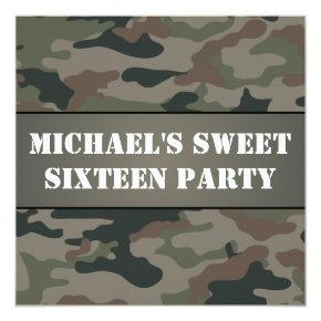 Army Style Sweet 16 Birthday Party Invitation