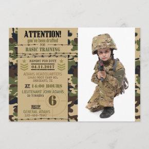 Army Woodland Camouflage Military Birthday Invitation
