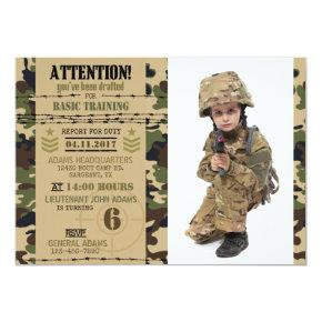 Army Woodland Camouflage Military Birthday Invitation