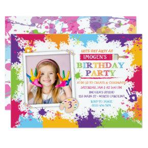 Art Craft Paint Birthday Party Invitations