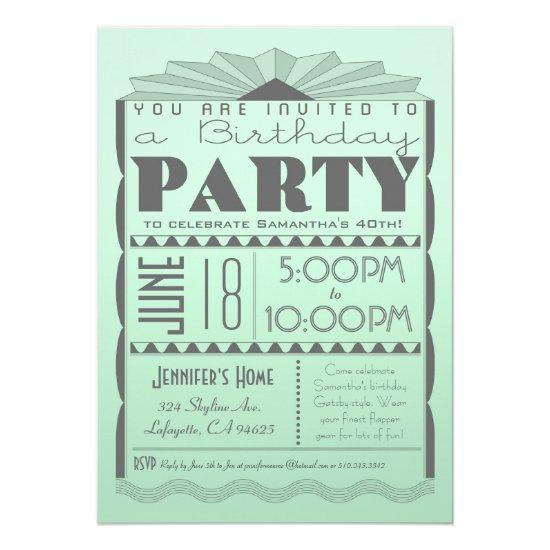 Art Deco Birthday Invitation Gatsby Style Mint Candied