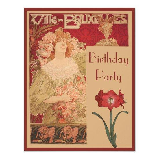 Art Nouveau Red Amaryllis Lady Birthday Party Card Candied Clouds
