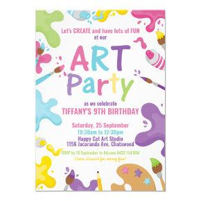 Art Party Birthday Colorful Rainbow Paint Girl Invitation