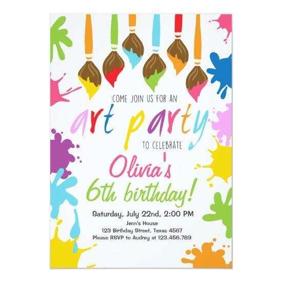 art party invitations birthday painting party candied clouds