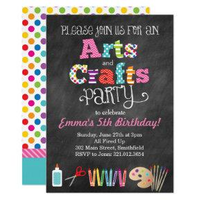 Arts & Crafts Party Chalkboard Style Invitations