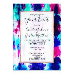 Artsy Summer Pink Blue Colorful Tie Dye Pattern Invitation