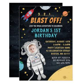 Astronaut Rocket Outer Space | Photo 1st Birthday Invitation